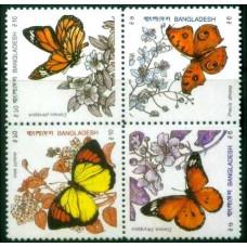 1990 Bangladesh Mi.350-353VB Butterflies 9.00 ?