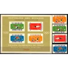1964 Ecuador Mi.1158-1161+B11 1964 Olympiad Tokio 5.20 ?