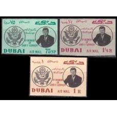1964 Dubai Mi.54-56b J,F,Kennedy 18,00