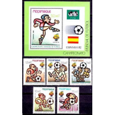 1982 Mozambique Mi.884-888+889/B13b FIFA / 1982 World championship on football of Spanien 9.00 ?