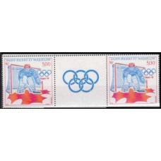 1988 St Pierre & Miquelon Mi.557Tabx2 1988 Olympiad Calgary 7,00