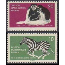 1961 Germany, East(DDR) Mi.825-826 Fauna 7.00 €