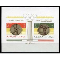 1968 Ajman Mi.349-50/B75b 1968 Olympiad Mexiko 101X80mm 6.00 €