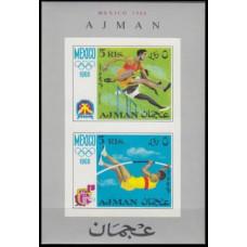 1968 Ajman Mi.255-256/B32b 1968 Olympic Mexico 8,50 €