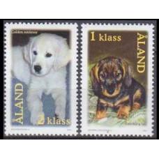 2001 Aland Mi.195-196 Dogs