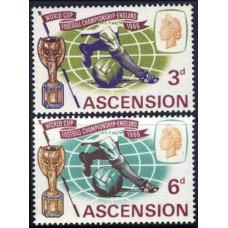 1966 Ascension Mi.100-101 1966 World championship on football of England 4.50 €