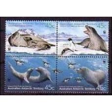 2001 Australian Antarctic Territory Mi.145-148VB WWF / Sea fauna 2.80 €