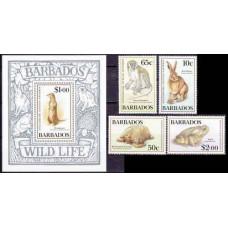 1989 Barbados Mi.721-724+725/B24 Fauna 17,80 €