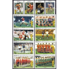 1986 St Vincent & Grenadines-Bequie Mi.177-188 1986 World championship on football of Mexico 15,00