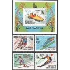 1979 Centralafrica Michel 632-635+636/B68 1980 Olympiad Lake Placid 13.00 €