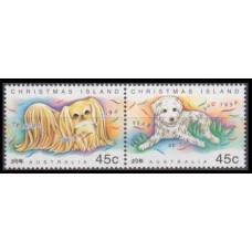 1994 Christmas Island Mi.392-393Paar Dogs