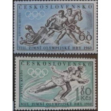 1960 Czechoslovakia Mi.1183-1184 1960 Olympiad Sguaw Valley 12.00