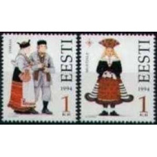 1994 Estonia (EESTI) Michel 235-236 Folk costumes 0.50 €