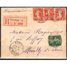 1912 France cover Registered mail €
