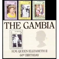 1986 Gambia Mi.617-619+620/B22 60th Birthday Elizabeth II 12,00 €