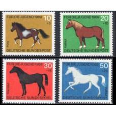 1969 Germany, West Mi.578-581 Horses 3.60 €