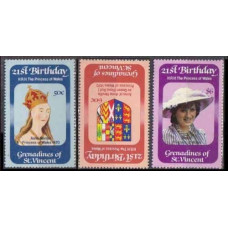 1982 Grenadines & St Vincent Mi.244-246 Diana 2,70 €