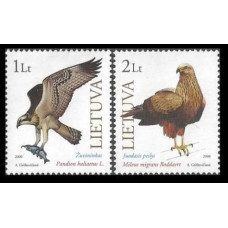 2000 Lithuania Mi.731-732 The Red Book of Lithuania: Birds of prey 2,50
