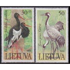 1991 Lithuania Mi.489-490 Storks and cranes