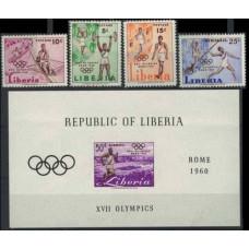 1960 Liberia Mi.552-555+556/B16b 1960 Olympics in Rome 5.60 €