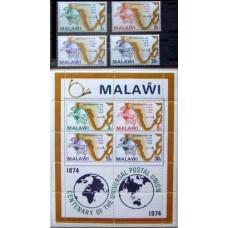 1974 Malawi Michel 216-219+B36 UPU, Postal Union, MNH 5.50 €