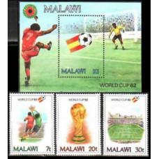 1982 Malawi Mi.380-382+383/B60 1982 World championship on football of Spanien 8.10