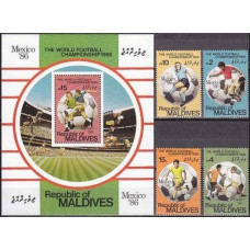 1986 Maldive Islands Michel 1189-92+1193/B121 1986 World championship on football of Mexico 21.50 €
