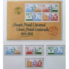 1974 Malta Michel 497-500+B4 Postal Union, UPU, MNH 8.20 €