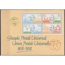 1974 Malta Mi.497-500/B4 Postal Union, UPU 5,00 €