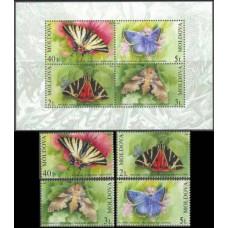 2003 Moldova Mi.459-462+B28 Butterflies 22,00 €