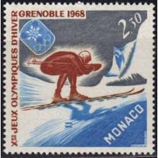 1967 Monaco Mi.875 1968 Olympics Grenoble 1,20 €