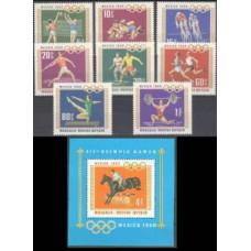 1968 Mongolia Mi.511-18+519/B15 1968 Olympic Mexico 5,60