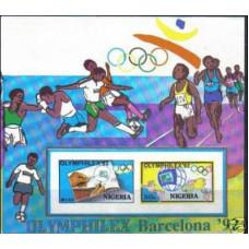 1992 Nigeria Michel 588-589/B14b imperf. Soccer