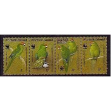 1982 Norfolk Island Mi.421-424strip WWF, The Norfolk Island Green Parrot 25,00 €