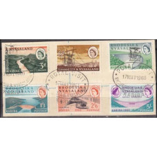 1960 Rhodesia & Nyasaland Mi.34-39 used cancel Royal visit 32.00 €