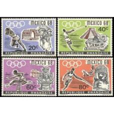 1968 Rwanda Mi.261-264 1968 Olympic Mexico