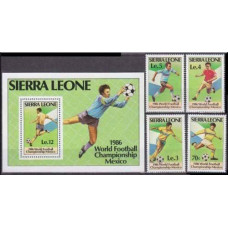 1986 Sierra Leone Mi.873-876+877/B42 1986 World championship on football of Mexico 14,50