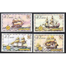 1973 St Lucia Mi.329-332 Ships with sails 2,80 €