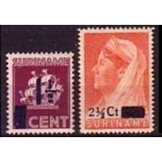 1947 Surinam Mi.277-278** overprint 1,60 €