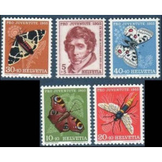 1955 Switzerland Mi.618-22 Insects 14.00 €