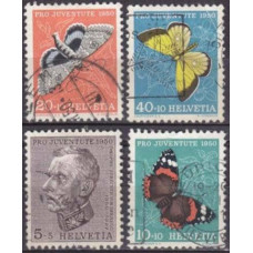 1950 Switzerland Mi.550-52.54 used Insects 16.80 €