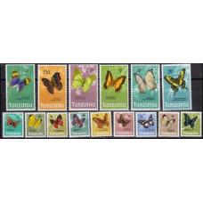 1973 Tanzania Mi.35-49 Butterflies 45,00 €