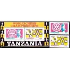 1986 Tanzania Mi.313-314+313-314/B54 Chess 3.40 €