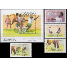 1986 Uganda Mi.460-463+464/B56 1986 World championship on football of Mexico 18,50
