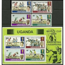 1978 Uganda Mi.183-186+B11 1978 World championship on football of Argentina 7,30