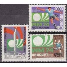 1974 Uruguay Michel 1302-1304 1974 World championship on football of Munchen 25.00 €