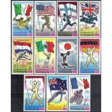 1968 Yemen (Kingdom) Michel 517-27 Olympiad 1900-1972 9.00 €