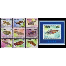 1978 Zaire Mi.548-556+557/B17 Sea fauna 25,00 €